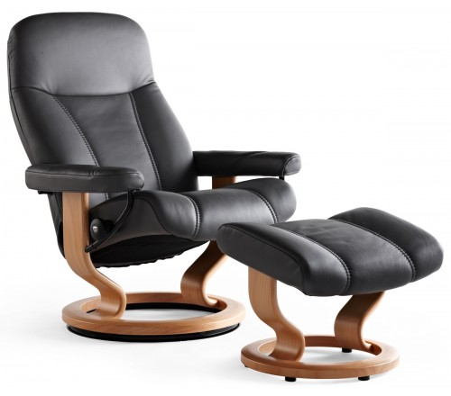 Stressless Consul Large Recliner & Ottoman