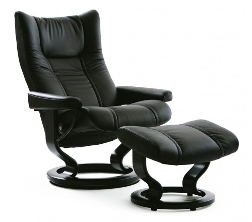 Stressless Wing Large Recliner & Ottoman