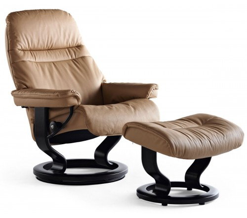 Stressless Sunrise Medium Recliner & Ottoman