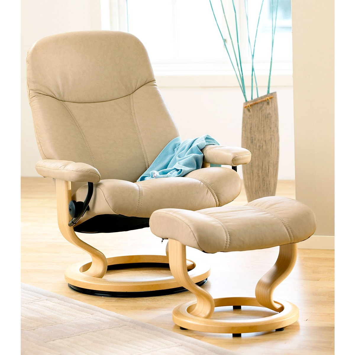 Stressless Consul Small Recliner & Ottoman from $1,695.00 ...